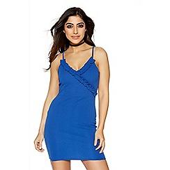 Quiz - Royal blue ruffle v neck bodycon dress