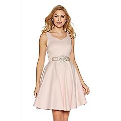 Quiz - Pink satin diamante waist prom dress