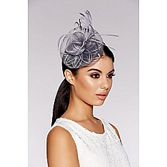 Quiz - Grey jewel spiral fascinator