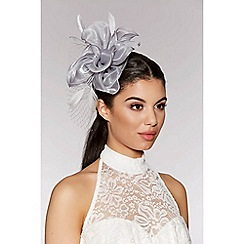 Quiz - Grey flower net fascinator