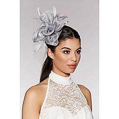Quiz - Grey flower net fascinator