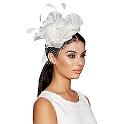 Quiz - Cream flower net fascinator