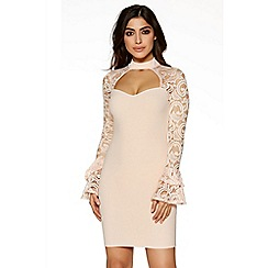 Quiz - Nude lace frill long sleeves bodycon dress
