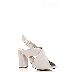 Quiz - Grey faux suede sling back mules
