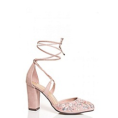 Quiz - Pink embroidered tie up shoes
