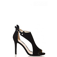 Quiz - Black faux suede cutout shoe boots