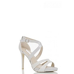 Quiz - Silver shimmer strappy heeled sandals