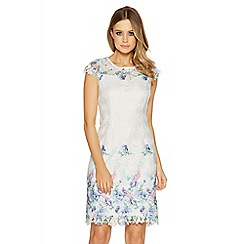 Quiz - Cream and blue crochet shift dress