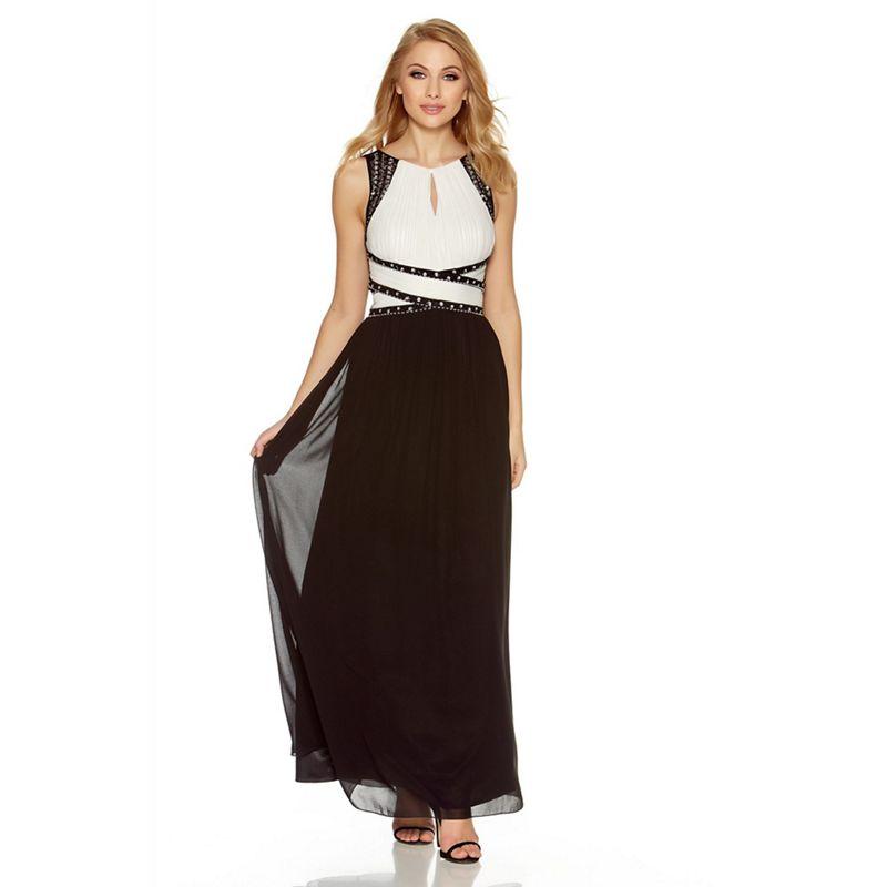 Quiz Cream and black diamante keyhole front maxi dress