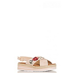 Quiz - Pink embroidered hessian flatform shoes