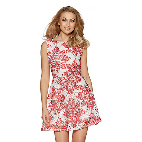 Quiz - White and red crochet paisley print skater dress