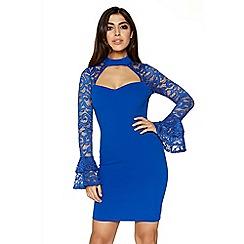 Quiz - Royal blue crepe lace choker dress
