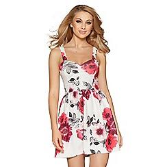 Quiz - Cream and pink rose print dress
