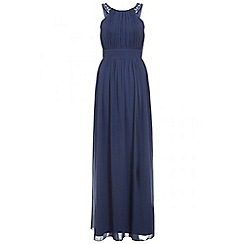 Quiz - Navy chiffon embellished high neck maxi dress