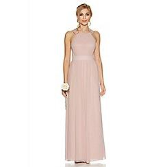 Quiz - Pink chiffon embellished high neck maxi dress