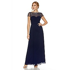 Quiz - Navy embroidered cap sleeve maxi dress