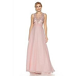 Quiz - Pink chiffon embellished high neck tulle maxi dress