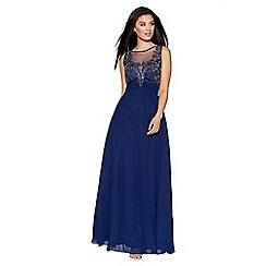 Quiz - Navy chiffon embellished high neck tulle maxi dress