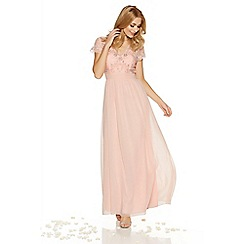 Quiz - Peach chiffon embellished v neck maxi dress