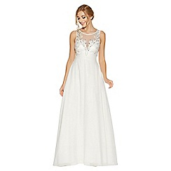Quiz - Charlotte White Embellished High Neck Bridal Dress