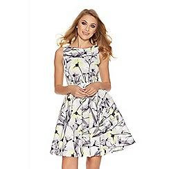 Quiz - Grey and lemon satin floral skater dress
