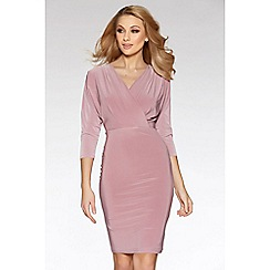 Quiz - Mauve v neck wrap front 3/4 sleeve bodycon dress