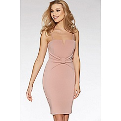 Quiz - Mink v bar bow detail midi dress