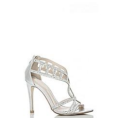 Quiz - Silver Diamante Cut Out Sandals