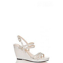 Quiz - Silver pu diamante multi strap wedges