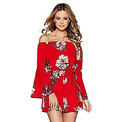 Quiz - Red and beige crepe floral playsuit