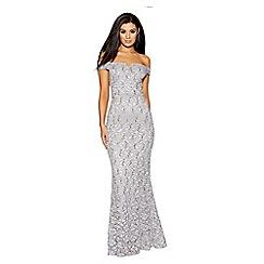 Quiz - Silver grey sequin bardot fishtail dress