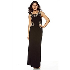 Quiz - Black and gold lace back embroidered maxi dress