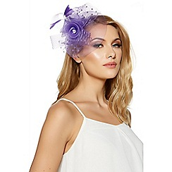 Quiz - Lilac polka dot mesh rose fascinator