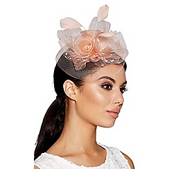 Quiz - Peach polka dot mesh rose fascinator