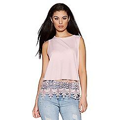 Quiz - Pink crochet hem sleeveless top