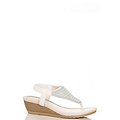 Quiz - White pu diamante wedged sandals