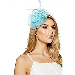 Quiz - Aqua jewel spiral fascinator