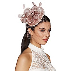 Quiz - Mauve flower net fascinator