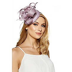 Quiz - Lilac curl feather detail fascinator