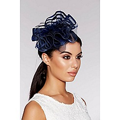 Quiz - Navy feather wave fascinator