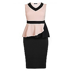 Quiz - Curve nude and black v neck peplum midi dress