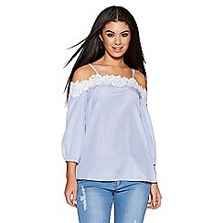 Quiz - White and blue crochet trim strappy bardot top