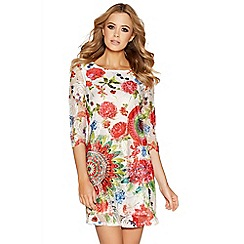 Quiz - Muti coloured lace abstract print tunic dress