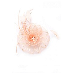Quiz - Peach jewel spiral fascinator