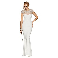 Quiz - Adella White Sequin Cap Sleeve Bridal Dress