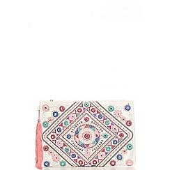 Quiz - White aztec embroidery bag
