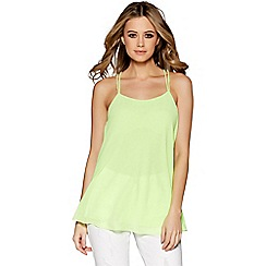 Quiz - Lime chiffon strap swing top