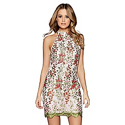 Quiz - White embroidered mesh turtle neck bodycon dress