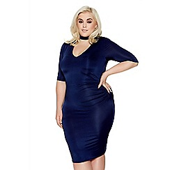 Quiz - Curve navy choker neck ruched midi dress