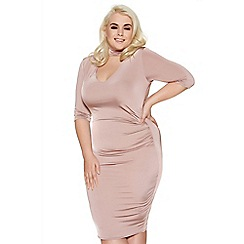 Quiz - Curve blush pink choker neck ruched midi dress
